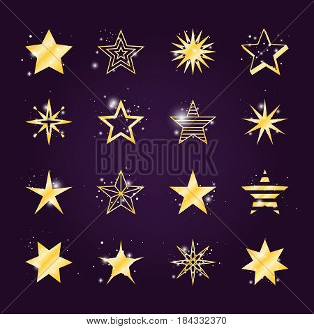 Astral stars vector set. Twinkle and light golden star icons