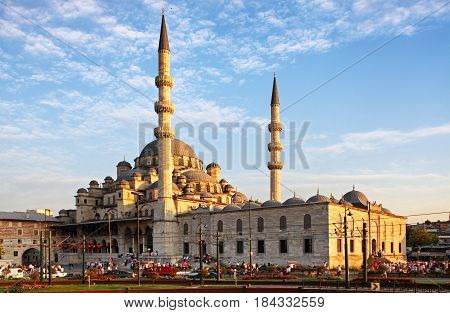 Yeni Cami mosque in Istanbul Turkey at day