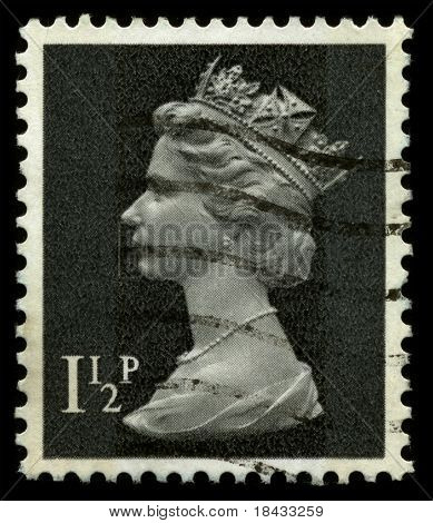 UNITED KINGDOM - CIRCA 1974: An English Used First Class Postage Stamp showing Portrait of Queen Elizabeth in black circa 1974.