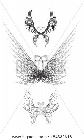 Butterfly Made of Guilloche Mesh for Design and Certificates. Linear Geometric Shape on a White Background