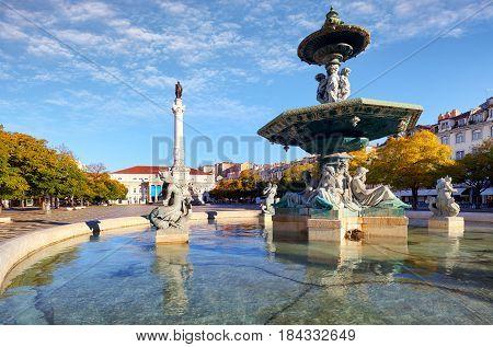 Lisbon - Rossio square at day Portugal
