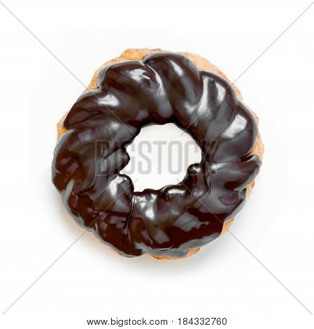 Chocolate donut or doughnut French cruller style isolated on white.