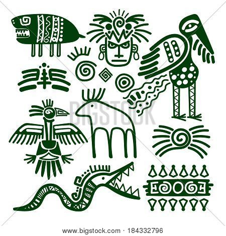 Aztec and inca native american tribal signs for embellishments and print patterns vector illustration poster