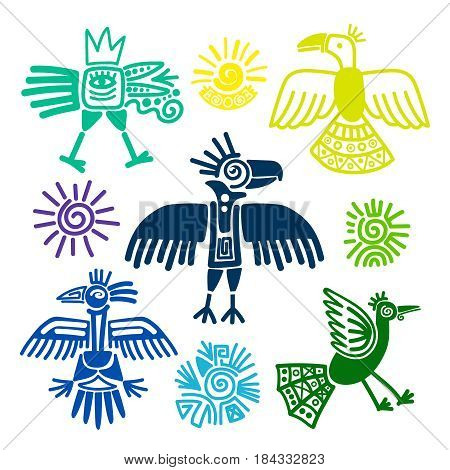 Primitive tribal birds paintings vector illustration. Peru and ecuador indians symbols isolated on white background
