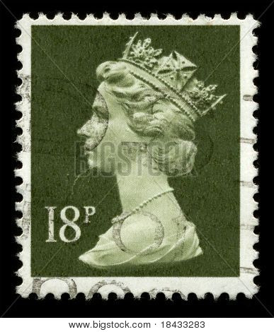 UNITED KINGDOM - CIRCA 1974: An English Used First Class Postage Stamp showing Portrait of Queen Elizabeth in light green circa 1974.