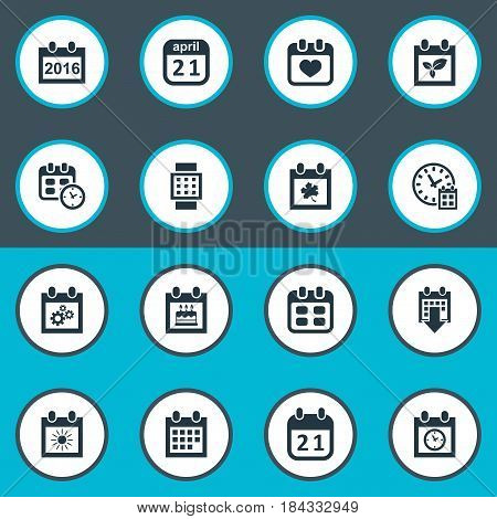Vector Illustration Set Of Simple Calendar Icons. Elements Summer Calendar, Almanac, Planner And Other Synonyms Annual, Day And Block.