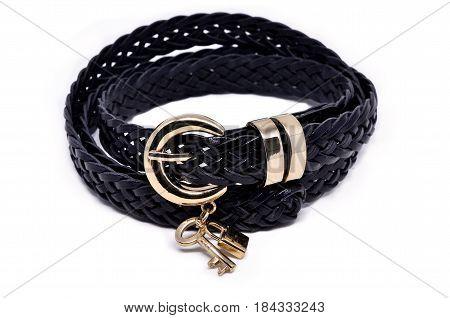 Black belt woven belt isolated on a white background
