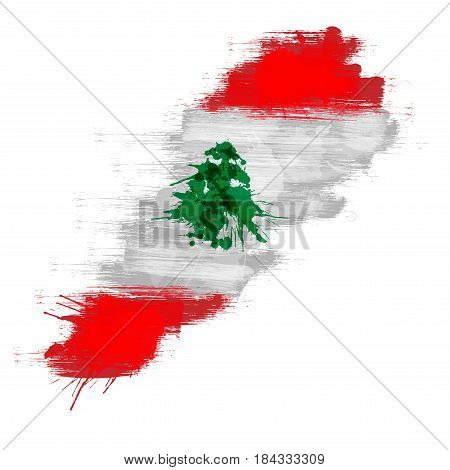 Grunge map of Lebanon with Lebanese flag