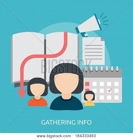 Gathering Info Conceptual Design | Great flat illustration concept icon and use for Business, Creative Idea, Concept, Marketing and much more