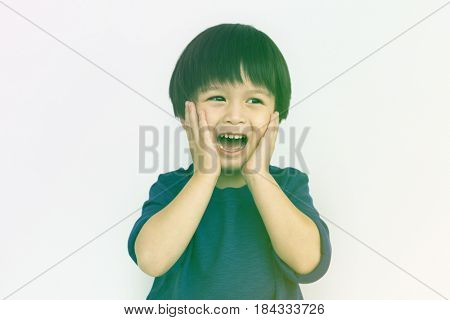 Little Boy Screaming Emotion Concept