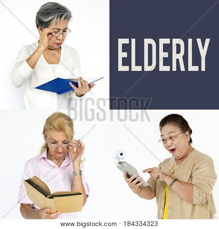 Set of Diversity Senior Adult People Face Expression Studio Collage