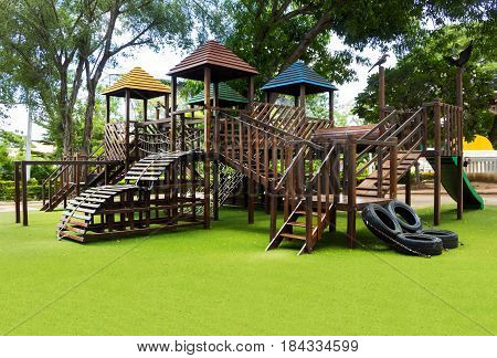 playground. An outdoor area provided for children to play on, especially at a school or public park.