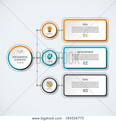 Infographic template with 3 option circles and tabs. Modern minimalistic vector banner that can be used as chart, diagram, graph, table, workflow layout for web, report, business presentation
