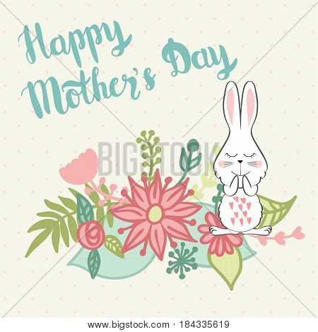 Happy Mother's Day. Handmade calligraphy vector illustration with bunny.