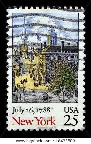 USA - CIRCA 1988: A stamp printed in USA shows image of the dedicated to the July 26, 1788 circa 1988.