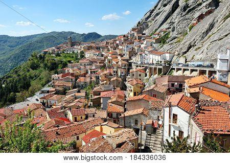 Destination Italy - the village of Pietrapertosa near Potenza in Basilicata dolomites mountains