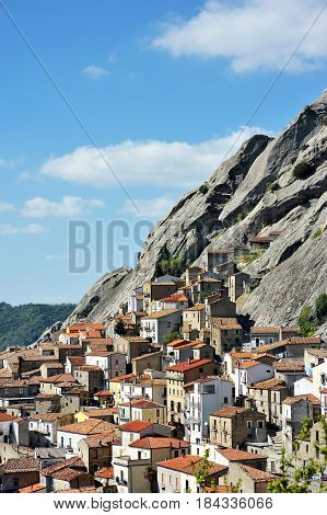 Pietrapertosa mountain village built in the dolomites rock Basilicata Southern Italy