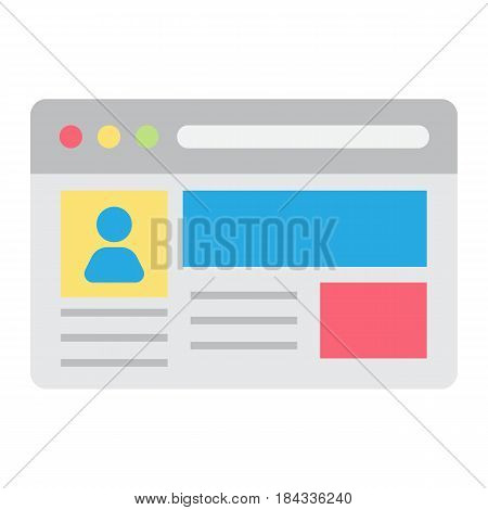 Account flat icon, social media and website button, vector graphics, a colorful solid pattern on a white background, eps 10.