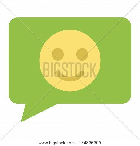 Comment with smile flat icon, feedback and website button, vector graphics, a colorful solid pattern on a white background, eps 10.