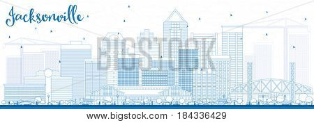 Outline Jacksonville Skyline with Blue Buildings. Business Travel and Tourism Concept with Modern Architecture. Image for Presentation Banner Placard and Web Site.