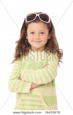 Young Girl Smiling With Sunglasses On Head