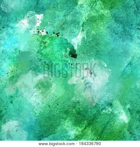 Artistic teal blue and green watercolor background texture, seamless abstract pattern