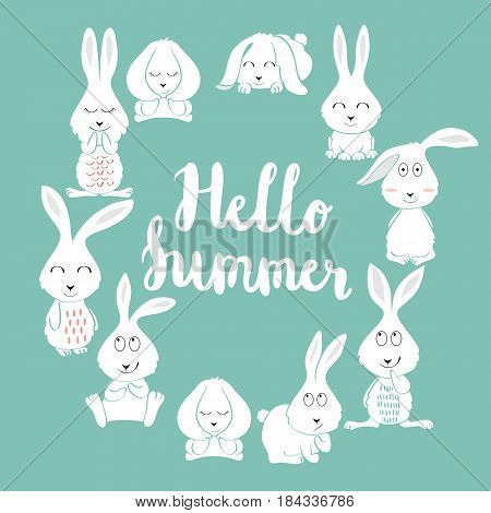 Hello summer. Greeting card with bunny in vector.
