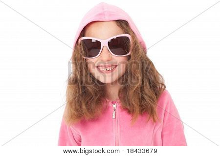 Young Girl In Sunglasses With Funny Face