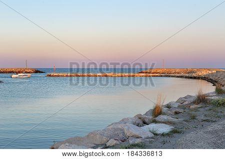 Blue sea and sky in the port Policoro Basilicata Italy