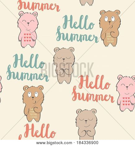 Vector cute seamless pattern with cartoon bear. Hello summer