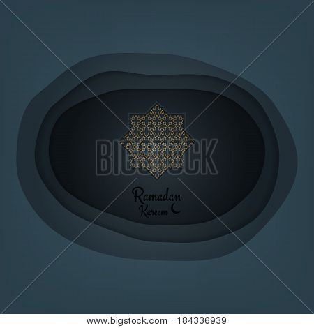 Ramadan Kareem. Paper cut vector background for islamic holiday