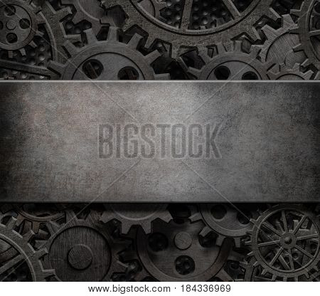 old cogs and gears steam punk technology background 3d illustration