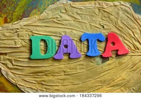 word data on  a  abstract colorful background