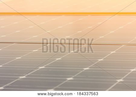 Close-up of Solar energy panel photovoltaics module in the sea offshore