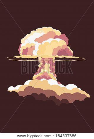 Nuclear Explosion. Cartoon Retro Poster. Mushroom Cloud. Vector Illustration.