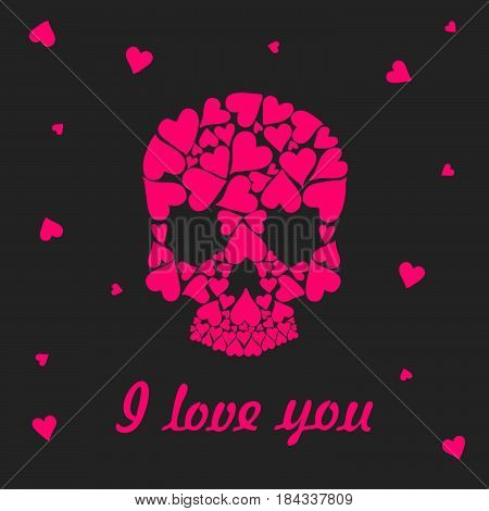 Valentine's Day greeting card. Skull shape from pink hearts. Inscription I love you. Vector illustration