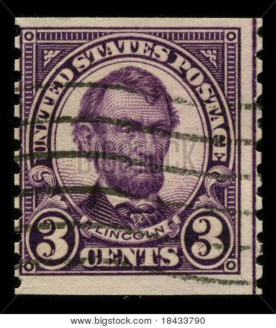 USA - CIRCA 1930: A stamp printed in USA shows image portrait Abraham Lincoln served as the 16th President of the United States from March 1861 until his assassination in April 1865, circa 1930.
