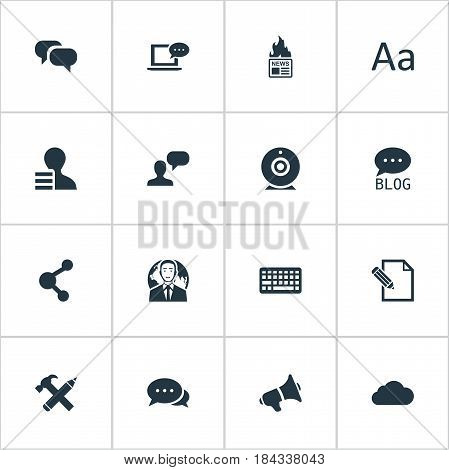 Vector Illustration Set Of Simple User Icons. Elements Gazette, Laptop, Loudspeaker And Other Synonyms Globe, Hot And Megaphone.