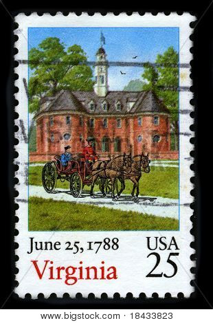 USA - CIRCA 1988: A stamp printed in USA shows image of the dedicated to the June 25,1788 Virginia circa 1988.
