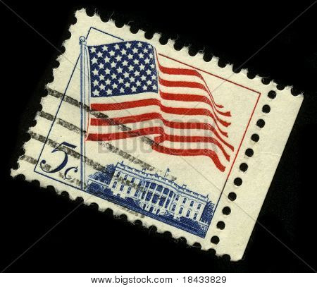 USA - CIRCA 1960: A stamp rotated forty-five degrees and  printed in USA shows image of the dedicated to the American Flag circa 1960.