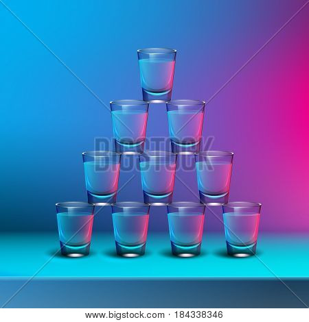 Vector pyramid of transparent alcoholic shots with blue, pink backlights on blur colored background