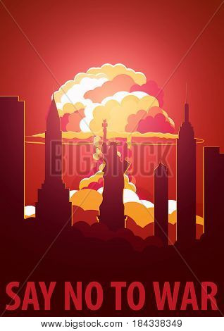 Nuclear Explosion In The City. Usa Say No To War. Cartoon Retro Poster. Vector Illustration.
