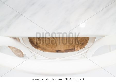 Retro Style Of White Wooden Chair stock photo