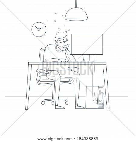 Tired employee sitting at a desk in the office. Thin line. Flat vector illustration in cartoon style.