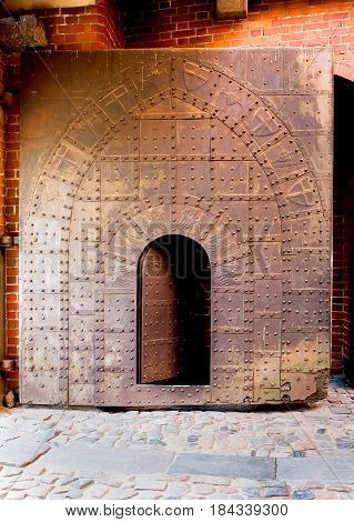 Old forged metal arch door in castle, background