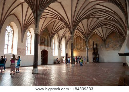 Malbork Poland - Jule 19 2014: Gothic hall of the Malbork Castle also called as Marienburg. World Heritage List UNESCO