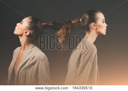 Two Cute Girls With Braided Long Hair Into Braid