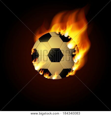 Football ball on Fire. Illustration on black background Eps 10.