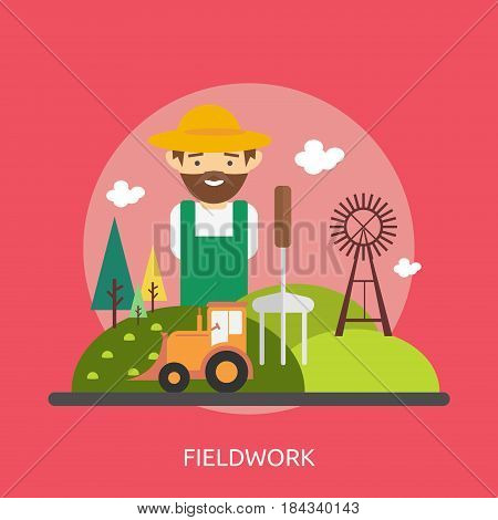 Fieldwork Conceptual Design | Great flat illustration concept icon and use for industrial, agriculture, business, farm and much more.