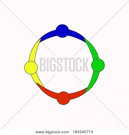 People graphic of 3 persons in circle. Vector design